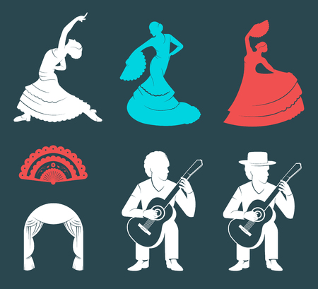 guitarists: Set of silhouettes and templates of flamenco isolated on a white background. Collection Icons of traditional Spanish dance. Signs of dancers, guitarists and Fan