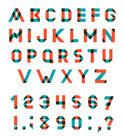 multiply:  Alphabet Set Fun geometric font. font with overlapping strokes and mixed colours. Multiply blend mode. Illustration