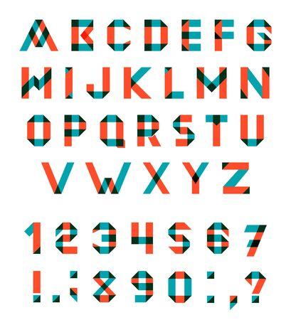 multiply: Conjunto del alfabeto de la fuente geom�trica diversi�n. fuente con trazos superpuestos y colores mezclados. Modo de fusi�n Multiplicar. Vectores