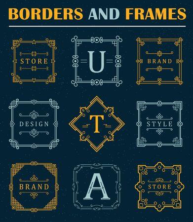 boutique hotel: Conjunto de lujo Borders and Frames. R�tulo de establecimiento, s�mbolo, identidad para restaurante, Realeza, Boutique, Hotel, her�ldico, joyer�a, moda Vectores