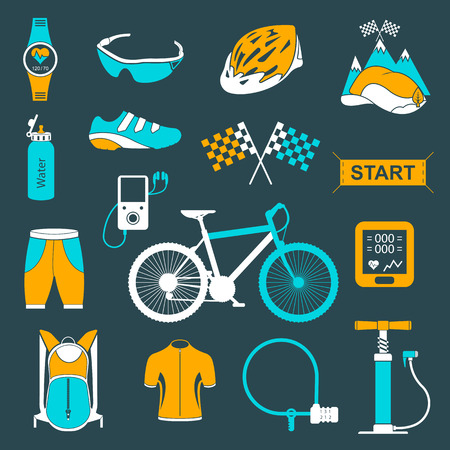 big icons: Bicycles. Isolated bike accessories set. Spare parts for bicycle big icons set.  Illustration