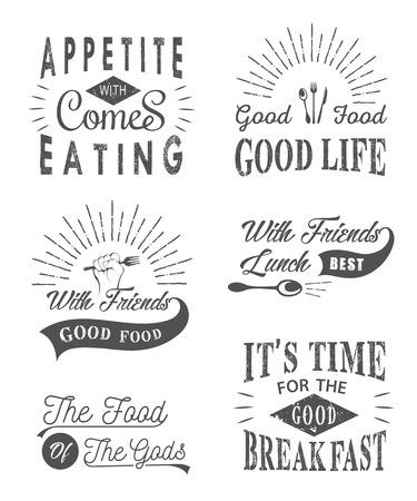 Conjunto de cotizaciones tipográficos alimentos vintage. Alimentos Vintage comillas tipográficas relacionados Ilustración de vector