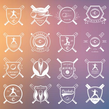 cricket game: Set of badges cricket. Collection of vintage signs, symbols and emblems sports game of cricket on a white isolated background. Set of cricket team emblem design elements Illustration