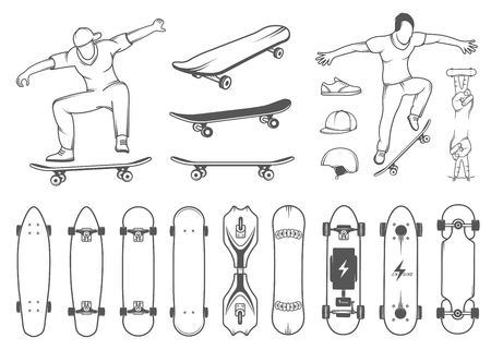 Set of skateboards and skateboarding of equipment, clothing, protection, and elements of street style. Silhouettes tricks skateboarders, and big collection symbols skateboards