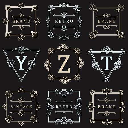 boutique hotel: Set Luxury template flourishes calligraphic elegant ornament lines. Business sign, symbol, identity for Restaurant, Royalty, Boutique, Hotel, Heraldic, Jewelry, Fashion