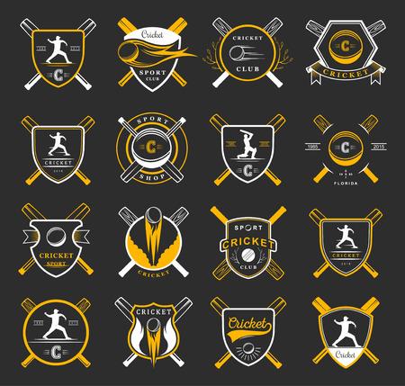 cricket: Set of badges cricket. Collection of vintage signs, symbols and emblems sports game of cricket on isolated background. Set of cricket team emblem design elements