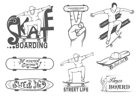 fingerboard: Set of skateboarding emblems,  badge, labels and designed elements. Collection sign street art, street life and graffiti