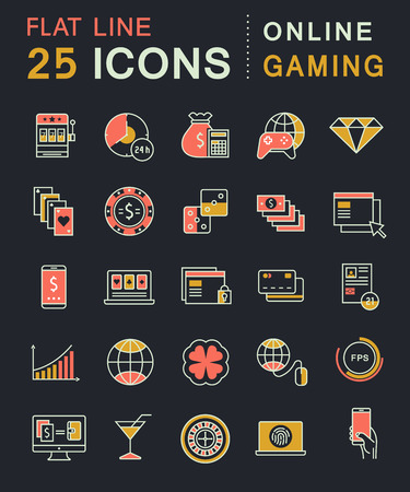 roulette online: Set vector line icons in flat design online gaming, casino, slot machine and slots, mobile gaming with elements for mobile concepts and web apps. Collection modern infographic logo and pictogram