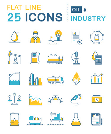chemical industry: Set vector line icons in flat design oil industry, power and energy production, mining minerals with elements for mobile concepts and web apps. Collection modern infographic logo and pictogram Illustration
