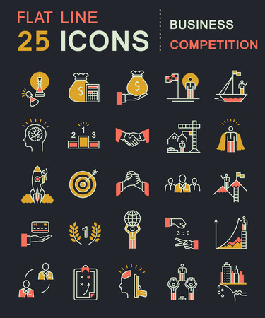 business competition: Set vector line icons in flat design business competition, leadership development, people management with elements for mobile concepts and web apps. Collection modern infographic logo and pictogram