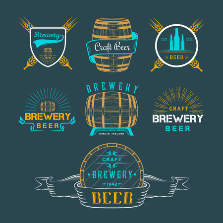 glasses of beer: Vintage craft beer brewery logo, badge emblems, labels and design elements on a white background