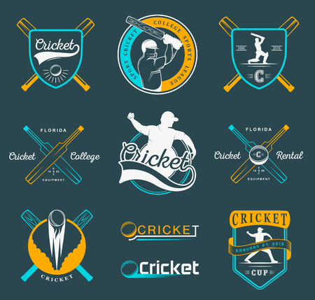 Set of vector logos and badges cricket. Collection of vintage signs, symbols and emblems sports game of cricket on a white isolated background. Set of cricket team emblem design elements
