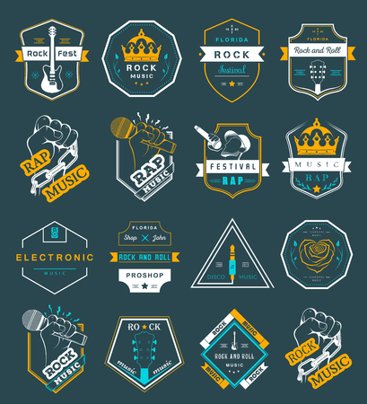 rock music: Set of vector badges and logos of rock music and rap classical music, electronic music and disco. The collection of symbols and emblems for printing T-shirts, festivals and parties.
