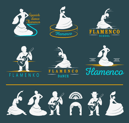 spearfishing: Set of vector logos, badges and silhouettes Flamenco. Collection emblems of traditional Spanish dance, signs school, clubs, shops and studios flamenco isolated on a white background