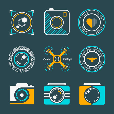 Vector collection of photography logo templates. Photography vintage and modern badges and photo labels. Photocam logotypes.