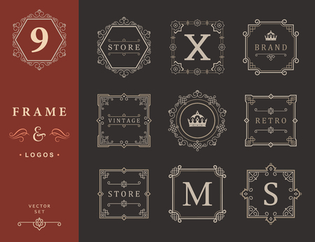boutique hotel: Set Luxury Logos and Monogram template flourishes calligraphic elegant ornament lines. Business sign, identity for Restaurant, Royalty, Boutique, Hotel, Heraldic, Jewelry, Fashion and other vector illustration Illustration