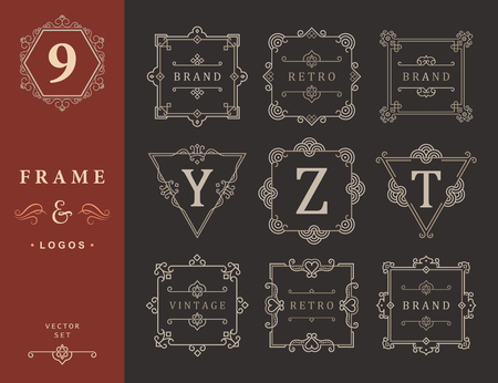 elegant template: Set Luxury Logos and Monogram template flourishes calligraphic elegant ornament lines. Business sign, identity for Restaurant, Royalty, Boutique, Hotel, Heraldic, Jewelry, Fashion and other vector illustration Illustration