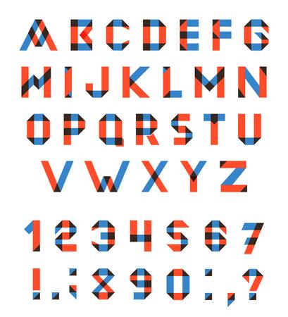 multiplicar: Vector conjunto del alfabeto de la fuente geométrica diversión. Fuente de vector con trazos superpuestos y colores mezclados. Modo de fusión Multiplicar. Vectores