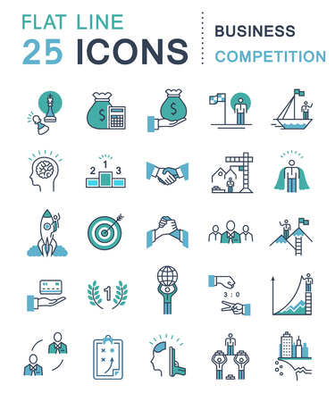 elimination: Set vector line icons in flat design business competition, leadership development, people management with elements for mobile concepts and web apps. Collection modern infographic logo and pictogram