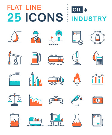 industry power: Set vector line icons in flat design oil industry, power and energy production, mining minerals with elements for mobile concepts and web apps. Collection modern infographic logo and pictogram Illustration