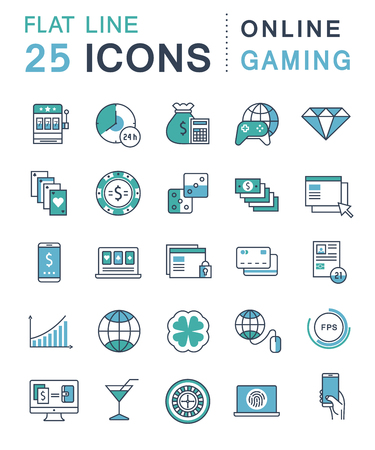 slot in: Set vector line icons in flat design online gaming, casino, slot machine and slots, mobile gaming with elements for mobile concepts and web apps. Collection modern infographic logo and pictogram