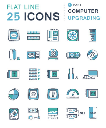 computer icons: Set vector line icons in flat design upgrading computer and hardware, overclocking, cooling, test cpu and gpu with elements for mobile concepts and web apps. Collection modern infographic logo and pictogram