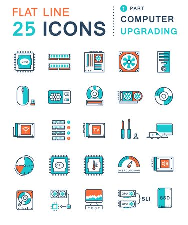 Set vector line icons in flat design upgrading computer and hardware, overclocking, cooling, test cpu and gpu with elements for mobile concepts and web apps. Collection modern infographic logo and pictogram