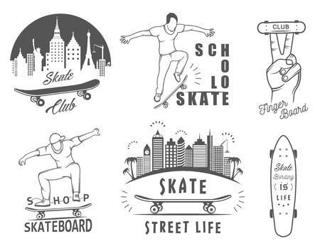 grafitis: Conjunto de skate logotipo, los emblemas, pegatinas, etiquetas y elementos de estilo de la calle. Signo colecci�n arte de la calle, la vida de la calle y el graffiti Vectores