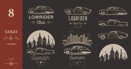 Set vintage lowrider logo, badge, sign, emblems, sticers and elements design. Collection black and white classic and retro old car icon - Stock Vector