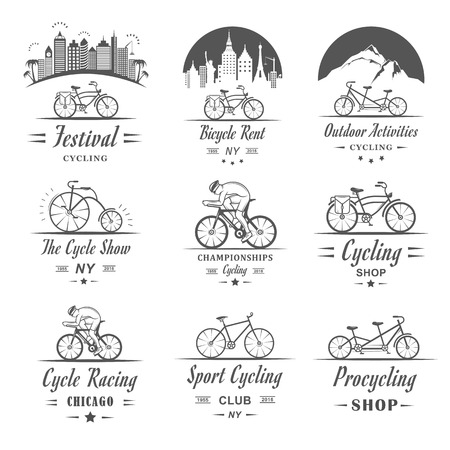 bicycle pump: Set of vintage, modern and retro logo badges and labels bicycle, pro bike, shop, equipment and club. Cycling typographic sign, icons and old emblems - Stock Vector