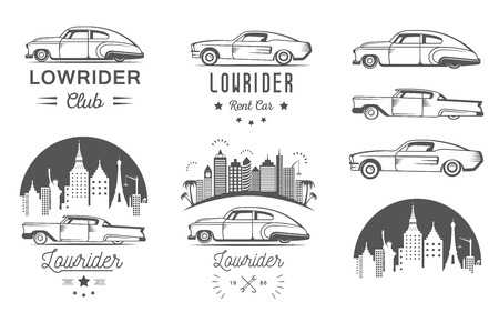 stock car: Set vintage lowrider logo, badge, sign, emblems, sticers and elements design. Collection black and white classic and retro old car icon - Stock Vector