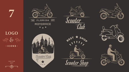 vespa: Set vector vintage scooter and motorcycle logos, badges, sign, icon and isolated silhouettes. Collection hand drawn equipments, retro bikers garage repair service