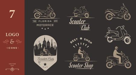 vespa piaggio: Set vettore di scooter d'epoca e moto loghi, distintivi, segno, icona e sagome isolate. Attrezzature disegnati a mano Collezione, ciclisti retr� servizio di riparazione garage