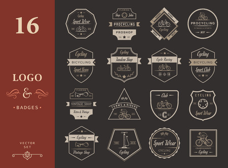 Set van vintage, modern en retro logo badges en labels fiets, pro fiets, winkel, apparatuur en club. Fietsen typografisch teken, pictogrammen en oude emblemen - Stock Vector