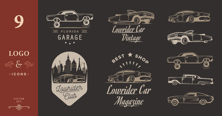 hotrod: Set vintage lowrider logo, badge, sign, emblems, sticers and elements design. Collection black and white classic and retro old car icon - Stock Vector