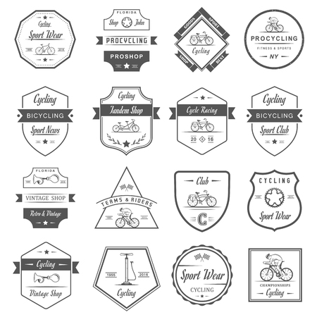racing sign: Set of vintage, modern and retro logo badges and labels bicycle, pro bike, shop, equipment and club. Cycling typographic sign, icons and old emblems - Stock Vector