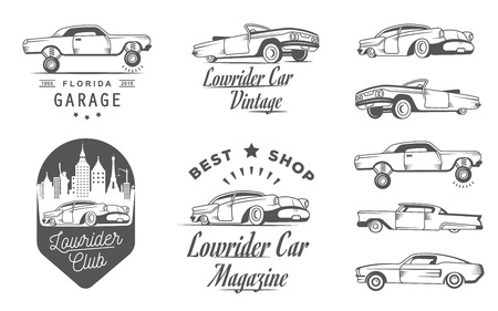 sticers: Set vintage lowrider logo, badge, sign, emblems, sticers and elements design. Collection black and white classic and retro old car icon - Stock Vector