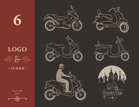 riders: Set vector vintage scooter and motorcycle logos, badges, sign, icon and isolated silhouettes. Collection hand drawn equipments, retro bikers garage repair service