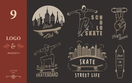 fingerboard: Set of skateboarding logo, badge, emblems, stickers, labels and elements of street style. Collection sign street art, street life and graffiti