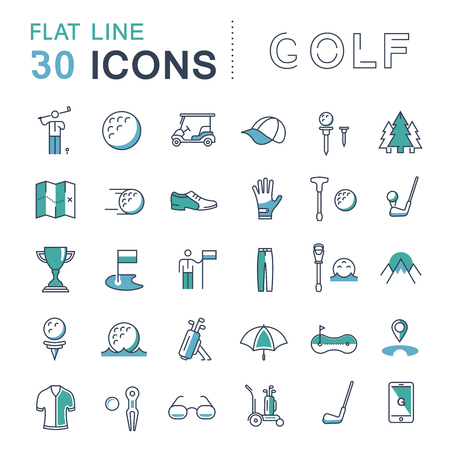 Set vector line icons game golf and golf equipments in flat design with elements for mobile concepts and web apps. Collection modern infographic logo and pictogram