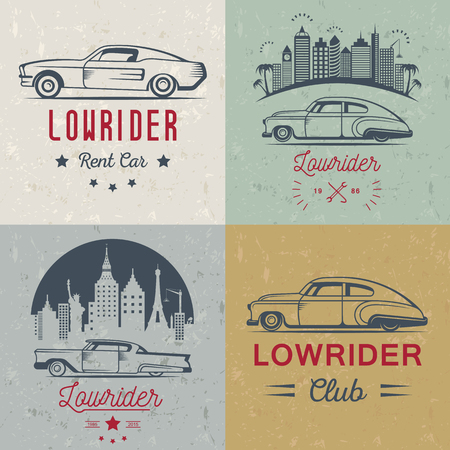 modifying: Set vintage lowrider logo, badge, sign, emblems, sticers and elements design. Collection black and white classic and retro old car icon - Stock Vector