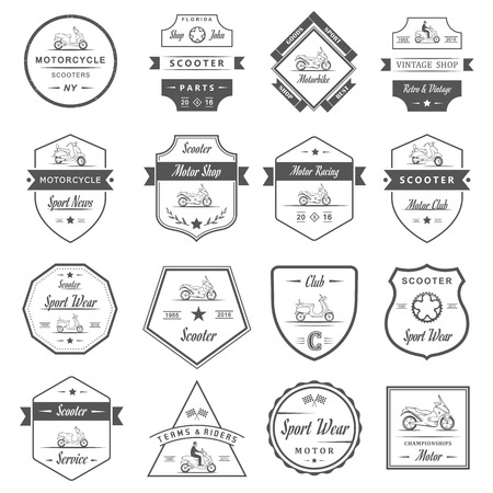 Set vector vintage scooter and motorcycle logos, badges, sign, icon and isolated silhouettes. Collection hand drawn equipments, retro bikers garage repair service