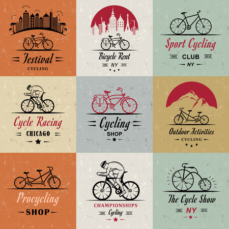 cycling mountain: Set of vintage, modern and retro logo badges and labels bicycle, pro bike, shop, equipment and club. Cycling typographic sign, icons and old emblems - Stock Vector