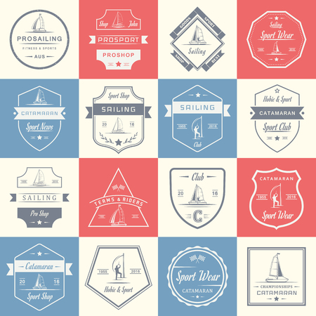 hobie: Set of yacht and catamaran logos and badges.