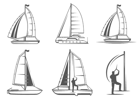 hobie: Set of yacht and catamaran. Illustration
