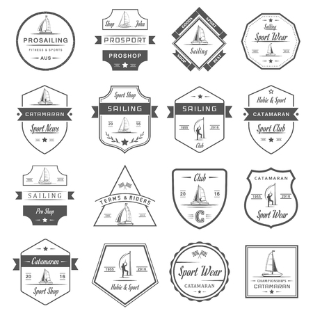 Set of yacht and catamaran   badges. Collection sign and emblems pro sailing, catamaran club and shop - Stock Vector