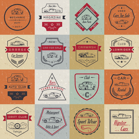 auto service: Vector set of vintage car symbols and sign. Car service and car sale retro labels,  badges. Collection of auto design elements, frames, ribbons and emblems Illustration
