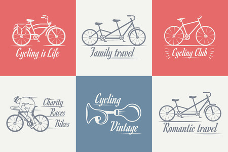 beep: Set of vintage, modern and retro   badges and labels bicycle, pro bike, shop, equipment and club. Cycling typographic sign, icons and old emblems - Stock Vector