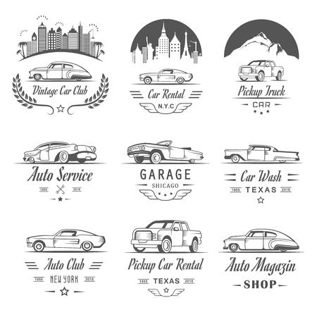 autolavaggio: Insieme di vettore dei simboli di auto d'epoca e segno. Servizio di noleggio e vendita etichette retrò, scudetti. Raccolta di progettazione automobilistica elementi, cornici, nastri e emblemi