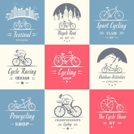 pro: Set of vintage, modern and retro   badges and labels bicycle, pro bike, shop, equipment and club. Cycling typographic sign, icons and old emblems - Stock Vector